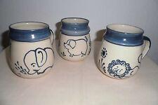 Tasse Teetasse Töpferware Handarbeit blau weiß Kaffeebecher Unikat