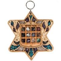 "Handmade Star David High Priest Breastplate Hoshen 12 Tribes of Israel Stones 6"""