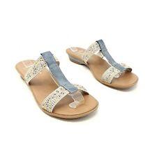 Rieker Blue Beaded Strappy Flat Sandals Shoes UK 6.5 EU 40 Slide On