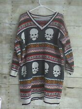 SKULL NORDIC FAIR ISLE LONG OVERSIZED ROOMY GRAY SWEATER DRESS TOP S M L OS