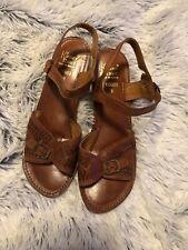 Vintage Kinney Shoes 68227 Light Brown Sandals w/ Wooden Heels Sz 8