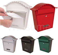 Classic Wall Mounted Galvanised Steel Lockable Letter Mail Post Box Weatherproof