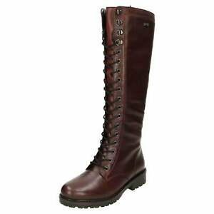 Remonte Tex Flat Leather Boots Lace Up Zip R6579-35 Wool Lined Knee High Red
