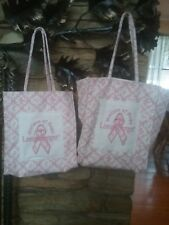 2 Longaberger Horizon Of Hope Pink Floral Purse Bag Tote Used Clean Nwot.