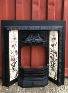 Antique Cast Iron Fireplace Insert 🚚Delivery Free It £35 Most Uk