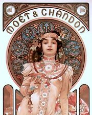 MOET & CHANDON AD FRENCH ARTIST MUCHA OIL PAINTING ART REAL CANVAS GICLEEPRINT