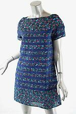 SACAI LUCK Blue/Pink/Green Floral Print SS Dress w/ Blue Horizontal Ribbon Sz L