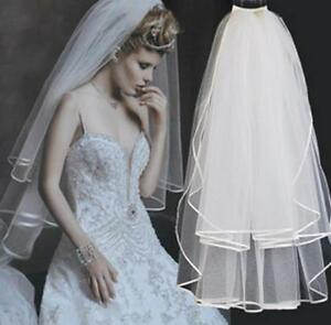 Brautschleier mit Kamm Satinkante Hochzeit Braut 2 Schicht 60 cm und 80 cm