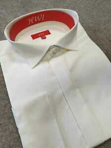Mens NEW Off White Ivory Wing Collar Wedding Evening Formal Smart Casual Shirt
