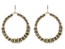 Amrita Singh Womens Hematite Mixed Metal Crystal Hoop Earrings ERC 7029 NWT