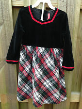 Hanna Andersson Girls 110 4T 5 6 Black Red Velvet Plaid Xmas Holiday L/S Dress