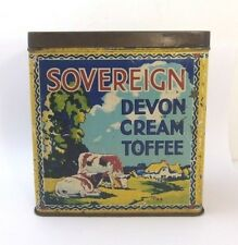 Sovereign Toffee Tin Vintage 1930s Confectionery Sweets Advertising Packaging
