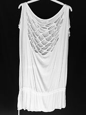 RELIGION WHITE SHREDDED BACK OFF SHOULDER LONG TOP TUNIC DRESS L / 14