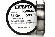 TEMCo Nichrome 80 series wire 36 Gauge 500 FT Resistance AWG ga