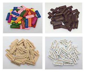 10 Handmade Label Holzknöpfe Anhänger Schild Hand Made nähen Nähzubehör