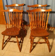 S Bent & Bros Colonial Windsor Dining Chairs, Set Of 4, Vintage Maple
