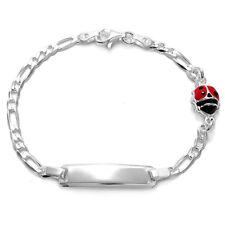 """925 Sterling Silver 6"""" Engravable Ladybug Child's Figaro I.D. Bracelet"""