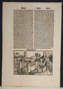EGYPT ALEXANDRIA OF EGYPT 1496 SCHEDEL UNUSUAL ANTIQUE VIEW 2nd GERMAN EDTION