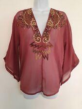 Womens Antik Batik Dusky Pink Gold Sequins Sheer V Neck Boho Kaftan Blouse 14.