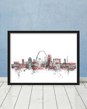St Louis Cardinals Hall of Fame Players Skyline Wall Art Baseball Print Mancave