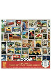 NEW 1000 Piece Jigsaw Puzzle Ceaco 26 in x 19 in, CAR STAMPS W/Free Bonus Poster