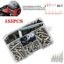 155xStainless Thread Motorcycle Shell Fairing Bolt Plate Screws Nut Accessories