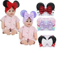 Baby Girls Sequin Headband Cartoon Animal Ears Hairband Bow Knot Turban Headwrap