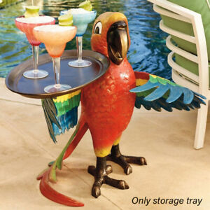 Storage Drink Serving Tray Resin Craft Living Room Parrot Statue Home Decoration
