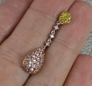 Beautiful 18ct White Gold Pink & Yellow Sapphire and Diamond Pendant