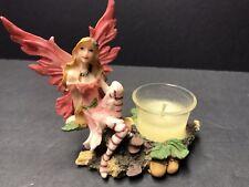 *New Pink Fairy Figurine On A Tree Stump Votive/Candle/Tea Light Holder