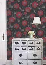 Debona - Wallpaper, Black w/ Red Flowers, Floral Leaf Design, BNIB Solaris 30993
