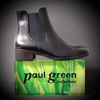 NEU PAUL GREEN klassische Damen Stiefel Stiefeletten Chelsea Boots Blau Leder 38