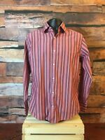 Banana Republic Men's M Pink Maroon Long Sleeve Button-Front Striped Shirt