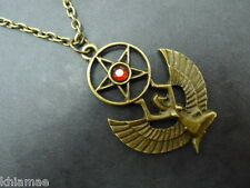 """Isis Egyptian Goddess Necklace 20"""" chain pendant wicca pagan bronze winged ankh"""