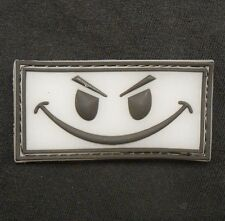 3D GLOW RUBBER PVC EVIL SMILEY FACE USA BADGE SWAT VELCRO® BRAND FASTENER PATCH
