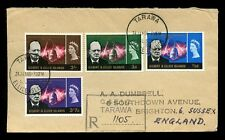GILBERT + ELLICE Is 1966 CHURCHILL SET REGISTERED FIRST DAY COVER