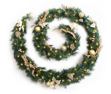 Decorated Christmas Garland Gold Luxury & Warm White LED Lights Best Artificial