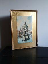 Antique Signed  Watercolour  Basilica In Venice