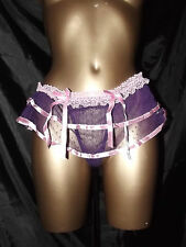 NEW SISSY PURPLE SHEER PINK THONG LACED SKIRTED PANTIE KNICKERS SIZE 10 12