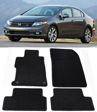 Black Trim Carpet Floor Mats Front Rear 4Pcs Custom FIt For 12-15 Honda Civic 4D
