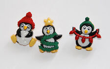Holiday Penguins / 3 Holiday Penguins /Dress It Up Christmas Buttons Jesse James