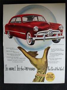 Vintage 1949 FORD CUSTOM CAR AUTOMOBILE Magazine Print Ad