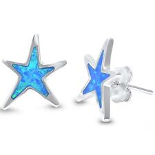 Lab Created Opal Star .925 Sterling Silver Earrings