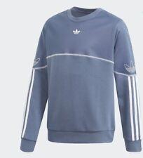 Chicos Niños Junior Contorno Crew Sudadera Jumper Adidas Originals Azul