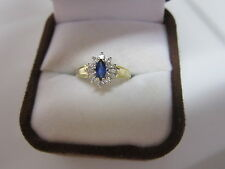 GORGEOUS ESTATE 14 KT GOLD BLUE SAPPHIRE AND DIAMOND RING  !!!!!!!!!!