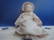 Bambola  ceramica con vestitino cotone alta 21 cm. anni '60