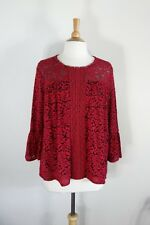 JOHN PAUL RICHARD // Size S // NEW Black & Red Soft Lace Tulle Peasant Top
