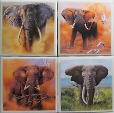 Set of 4 - Handmade Natural Stone Ceramic Tile Drink Coasters - Elephants 4 A