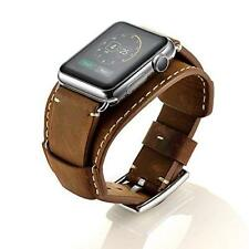 iWatch Band 42mm/44mm Series 4 3 2 1 Vintage Genuine Leather Metal Clasp Brown