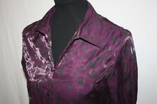 Notations Fitted Shiny Purple Rayon Long Sleeve Floral Top SZ M Velvety Buttons